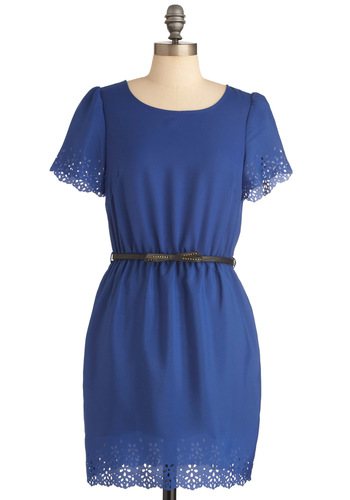 Eye to Eyelet Dress - Mid-length, Casual, Blue, Solid, Bows, Eyelet, Scallops, Studs, Sheath / Shift, Short Sleeves