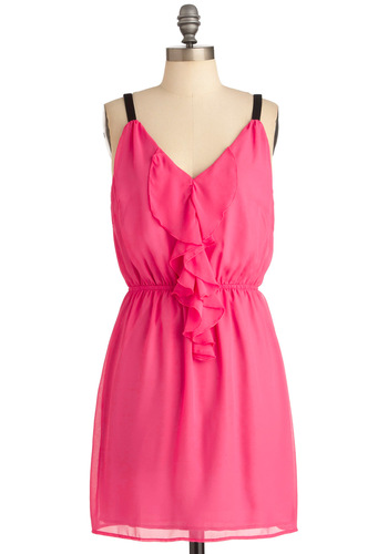 Look to the Future Dress in Pink - Mid-length, Party, Pink, Black, Solid, Ruffles, Sheath / Shift, Tank top (2 thick straps)