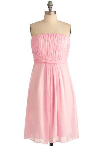 Love Blossoms Dress - Special Occasion, Wedding, Pink, Solid, Pleats, Shift, Strapless, Pastel, Cocktail, Chiffon, Sheer, Long