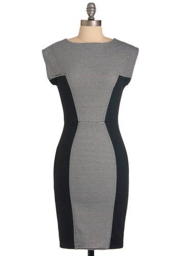 Things are Looking Uptown Dress - Mid-length, Urban, Black, White, Stripes, Exposed zipper, Work, Shift, Short Sleeves, Bodycon / Bandage