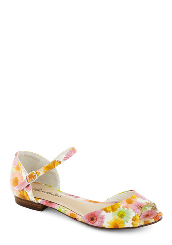 Steps in a Stylish Direction Sandal in Daisies - Multi, Orange, Yellow, Green, Floral, Pink, White, Casual, Spring