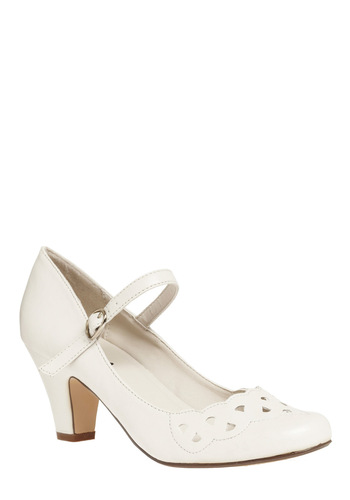 Family Album Heel - Cream, Solid, Buckles, Cutout, Wedding, Party, Casual, Vintage Inspired, Spring, Summer