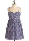 Twirl and Swirl Dress - Short, Casual, Purple, Multi, Multi, Print, Empire, Mini, Spaghetti Straps, Sweetheart
