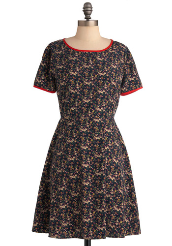 Vase of Wildflowers Dress - Mid-length, Casual, Blue, Multi, Multi, Floral, Trim, A-line, Short Sleeves