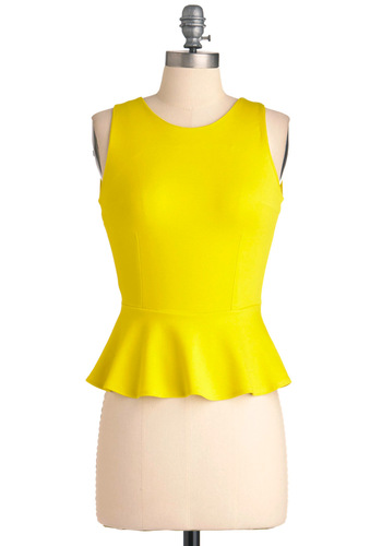 Sunny Attitude Top - Short, Yellow, Solid, Cutout, Party, Backless, Ruffles, Rockabilly, Sleeveless, Spring