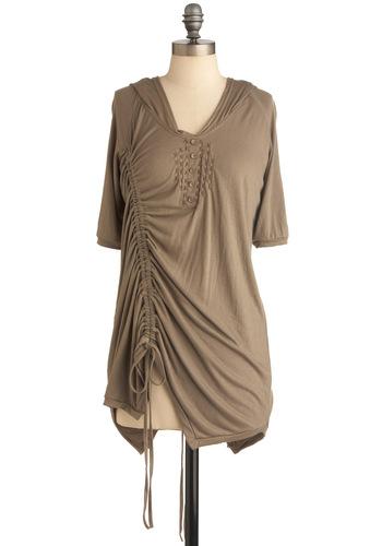 Ruche de Rivoli Tunic - Green, Solid, Buttons, Casual, Short Sleeves, Hoodie, Long