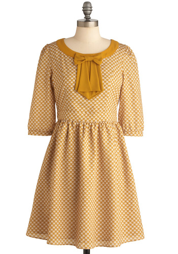 The Gold and the New Dress - Casual, Vintage Inspired, Mid-length, Yellow, Tan / Cream, Novelty Print, Bows, Shift, 3/4 Sleeve