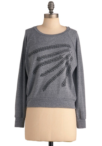 Wheat Me for Lunch Top - Grey, Black, Casual, Long Sleeve, Print, Mid-length