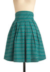 Sail We Dance Skirt by Emily and Fin - Casual, Nautical, Green, Pleats, A-line, Spring, Blue, White, Long, Exclusives, High Waist, Cotton, Fit & Flare, International Designer, Tis the Season Sale