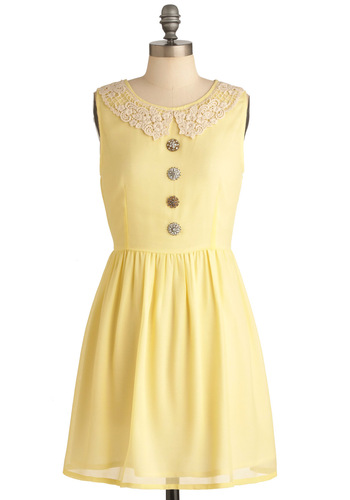 For the Butter Dress - Mid-length, Vintage Inspired, Yellow, Solid, Buttons, Lace, A-line, Sleeveless, Spring, Pastel, Sheer, Collared, Casual