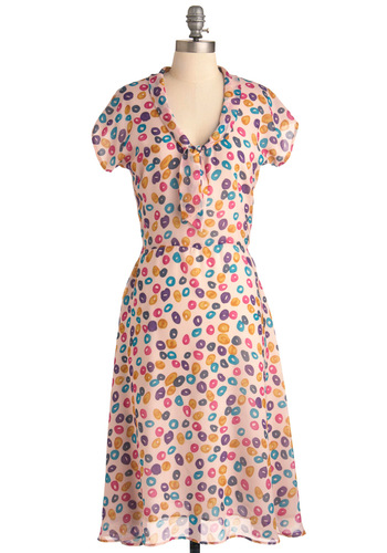 Confection Perfection Dress - Casual, Vintage Inspired, Print, Short Sleeves, Chiffon, Sheer, Pastel, Tie Neck, Long