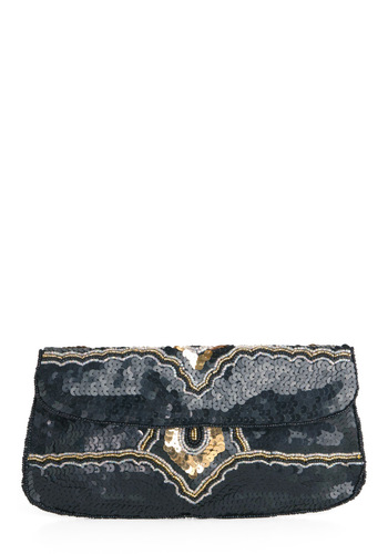 Sequin and Find Clutch in Noir - Formal, Prom, Vintage Inspired, 20s, Luxe, Black, Multi, Silver, Gold, Sequins, Beads