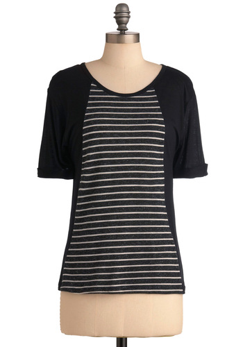 Next in the Line-Up Top - White, Stripes, Casual, Short Sleeves, Grey, Mid-length