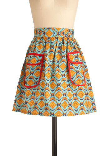 Gazing Through Glass Skirt by Mata Traders - Short, Multi, Pockets, Vintage Inspired, 70s, Yellow, Blue, Print, Handmade & DIY