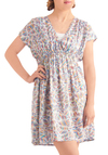 Jump into Refraction Dress - Mid-length, Casual, Multi, Blue, Pink, White, Print, Empire, Short Sleeves, Tis the Season Sale