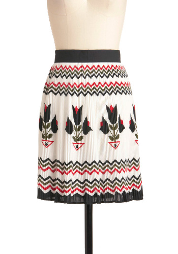 Holland, Michigan Skirt - Mid-length, Pleats, Work, Vintage Inspired, Multi, Red, Black, White, Print