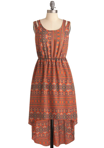 Keeping Trek Dress - Mid-length, Casual, Folk Art, Orange, Multi, Yellow, Green, Blue, Print, Cutout, Sheath / Shift, Sleeveless, Summer, High-Low Hem