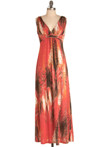On Bonfire Dress - Long, Casual, Boho, Red, Orange, Brown, White, Print, Maxi, Sleeveless, Beach/Resort