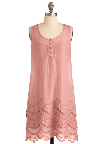 Pink and Choose Dress - Mid-length, Casual, Pink, Solid, Buttons, Embroidery, Scallops, Tiered, Shift, Sleeveless, Spring