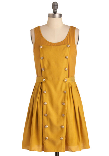 Bandstand for Something Dress - Mid-length, Military, Yellow, Solid, Buttons, Work, Vintage Inspired, Sheath / Shift, Tank top (2 thick straps)