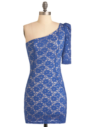 Dance Floor Adore Dress - Short, Party, Blue, Lace, Sheath / Shift, One Shoulder