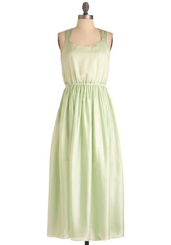 Mint Rendition Dress - Long, Party, Vintage Inspired, 70s, Green, Wedding, Sheath / Shift, Tank top (2 thick straps)