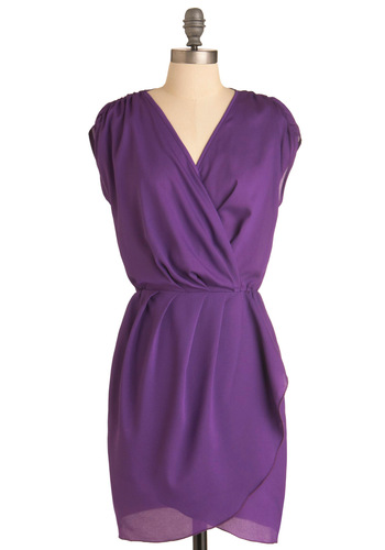 Iris I May Dress - Mid-length, Purple, Solid, Pleats, Work, Sheath / Shift, Cap Sleeves