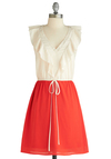 Parfait for the Course Dress - Mid-length, Red, White, Ruffles, Twofer, Sleeveless, V Neck, Tis the Season Sale