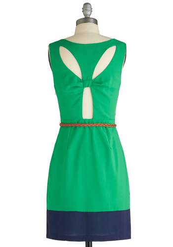 Are You Viridian or Out? Dress - Mid-length, Urban, Green, Blue, Solid, Cutout, Party, Shift, Sleeveless