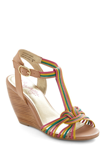 Good Ole Days Wedge by Seychelles - Multi, Yellow, Green, Pink, Woven, Party, Vintage Inspired, 70s, Wedge