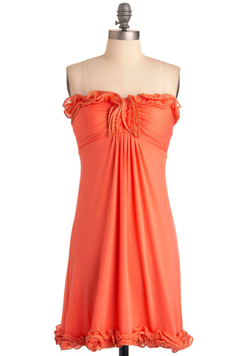 Citrus Tangerina Dress - Orange, Solid, Ruffles, Strapless, Casual, Empire, Mini, Summer, Mid-length