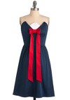 Peak Season Dress - Blue, Red, White, Solid, Bows, Party, Nautical, A-line, Strapless, Long
