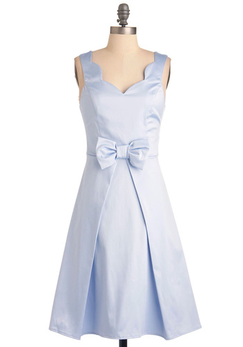 Live, Love, Lavender Dress - Long, Blue, Solid, Bows, A-line, Sleeveless, Party, Wedding, Scallops, Vintage Inspired, 60s, Spring
