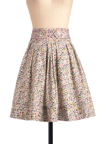 Pass the Time Skirt in Expressionist - Mid-length, Multi, Floral, Buttons, Casual, Multi, Pleats, A-line, Spring
