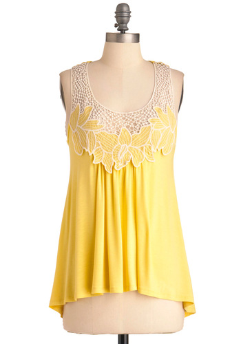 Lemon Valley Top - Yellow, White, Embroidery, Casual, Sleeveless, Solid, Crochet, Summer, Mid-length