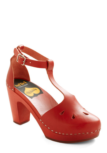 Brick-Me-Up Heel by Swedish Hasbeens - Red, Solid, Cutout, Handmade & DIY, International Designer, Mid, Best, T-Strap