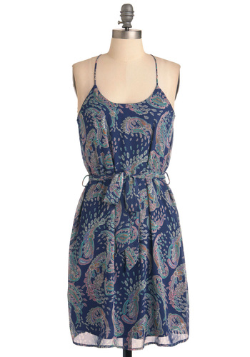 Design Dinner Dress - Mid-length, Blue, Paisley, Sheath / Shift, Racerback, Multi, Multi, Casual, Spaghetti Straps