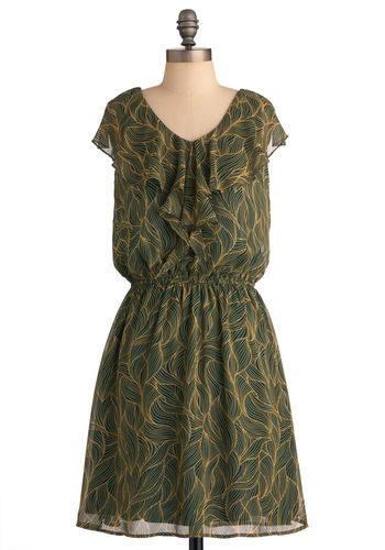 Scent Me on My Way Dress - Mid-length, Casual, Print, Ruffles, Sheath / Shift, Green, Yellow, Short Sleeves