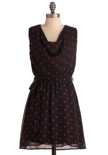 Cowl of the Wild Dress - Short, Black, Polka Dots, Sheath / Shift, Sleeveless, Red, Casual, Mini