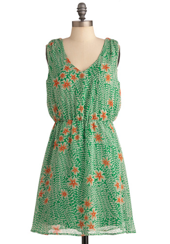 Must Be the Cosmos Dress - Mid-length, Green, Floral, Backless, Shift, Sleeveless, Casual, Multi, Orange, Tan / Cream, V Neck