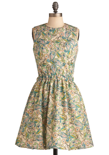 Is It Delicious Dress in Green - Paisley, Buttons, Cutout, Pleats, A-line, Sleeveless, Casual, Multi, Green, Summer, Mid-length, International Designer