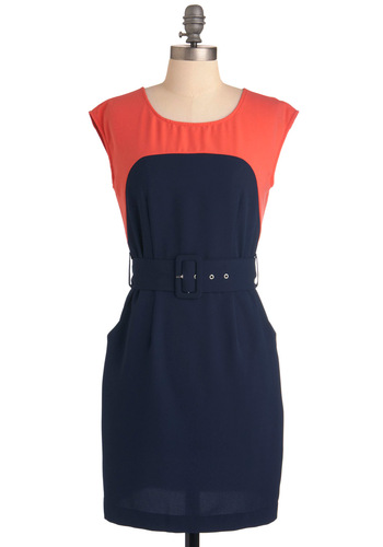 Sheath the One Dress in Navy - Mid-length, Work, Urban, Blue, Orange, Pockets, Sheath / Shift, Cap Sleeves, Belted, Colorblocking