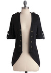 Keep It in Line Cardigan - Black, Solid, Buttons, Casual, 3/4 Sleeve, Military, Epaulets, Pockets, Mid-length, Steampunk, Winter