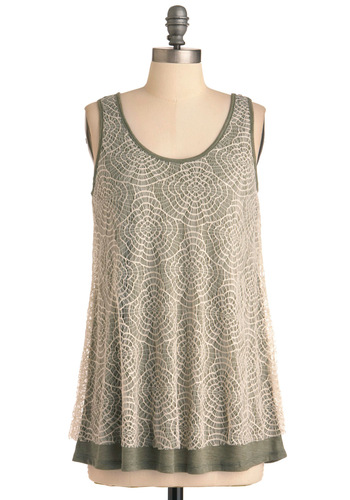 Lace of the Mondays Top - Green, Tan / Cream, Lace, Sleeveless, Casual, Floral, Mid-length