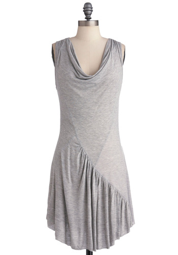 Cascades Range Dress - Short, Grey, Casual, Sleeveless