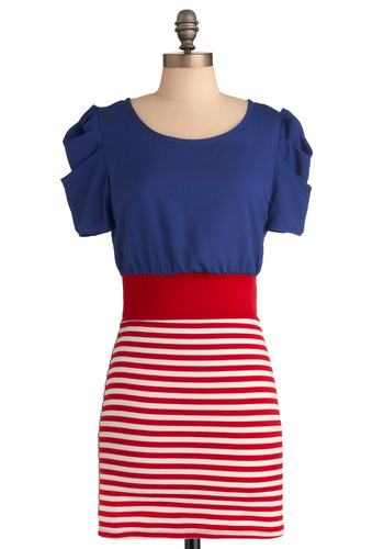Mast of Disguise Dress - Mid-length, Casual, Nautical, Red, Blue, White, Stripes, Cutout, Sheath / Shift, Short Sleeves, Summer