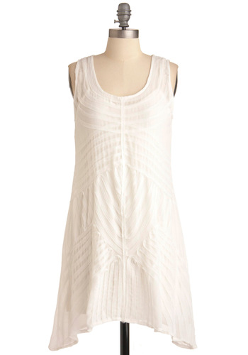 Billowing Beauty Dress - Short, White, Solid, Casual, Shift, Sleeveless, Summer