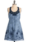 Way to Imbroglio Dress - Short, Casual, Blue, Floral, Crochet, Embroidery, A-line, Mini, Racerback, Summer