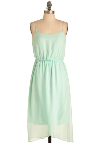 Backstage at the Ballet Dress in Mint - Long, Wedding, Vintage Inspired, Green, Solid, Slip, Spaghetti Straps, Spring