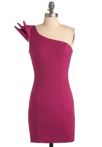 Italian Fuchsia-rism Dress - Short, Pink, Solid, Party, Mini, One Shoulder